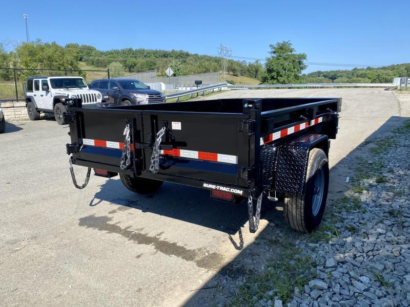 2021 Sure-Trac 5x8' Single Axle Dump Trailer 5000# GVW * COMBO DOORS * ADJUSTABLE COPUPLER * DROP LEG JACK * INTEGRATED KEYWAY * SPARE TIRE MOUNT * TARP PREP * D-RINGS * DIAMOND PLATE FENDERS * POWER UP/POWER DOWN * TRIPLE TUBE TONGUE * BULLET LED'S * RAD
