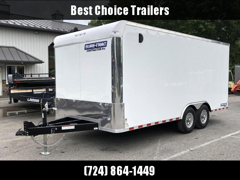 "2021 Sure-Trac 8.5x18' Enclosed Contractor Pro 14000# GVW * HD CONSTRUCTION TRAILER * 7K AXLE UPGRADE * TORSION * SUPER DUTY RAMP W/ KNIFEEDGE * 16"" RUBBER * BACKUP LIGHTS * 7' HEIGHT"