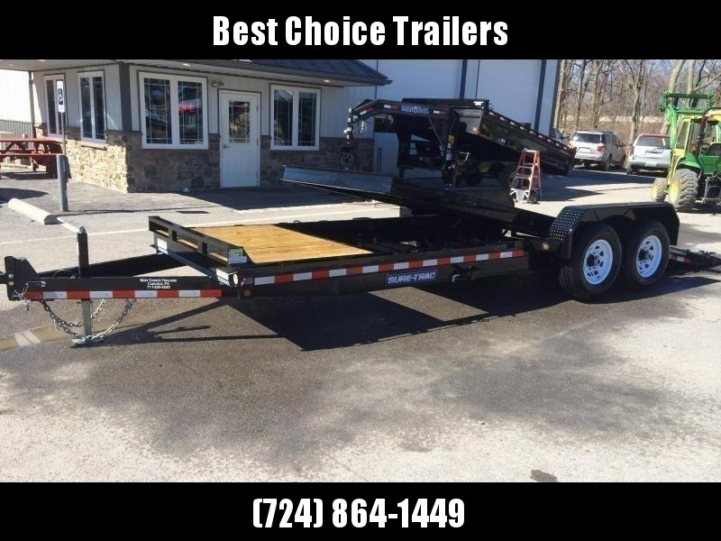 2020 Sure-Trac 7x22' Gravity Tilt Equipment Trailer 14000# GVW * SPLIT DECK 18+4' * 12K JACK * OAK DECK UPGRADE IMPROVES TRACTION & DURABILITY * DROP AXLES/LOW LOAD ANGLE * RUBRAIL/STAKE POCKETS/D-RINGS * HD FENDERS * ADJUSTABLE CAST COUPLER * SPARE MOUNT