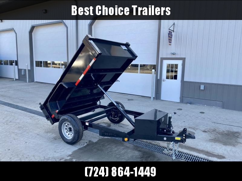 "2021 QSA 5x8' Single Axle Dump Trailer 6000# GVW * ADJUSTABLE COUPLER * DROP LEG JACK * BARN DOORS * DIAMOND PLATE FENDERS * POWER UP/POWER DOWN * LED LIGHTS * 15"" RADIALS"