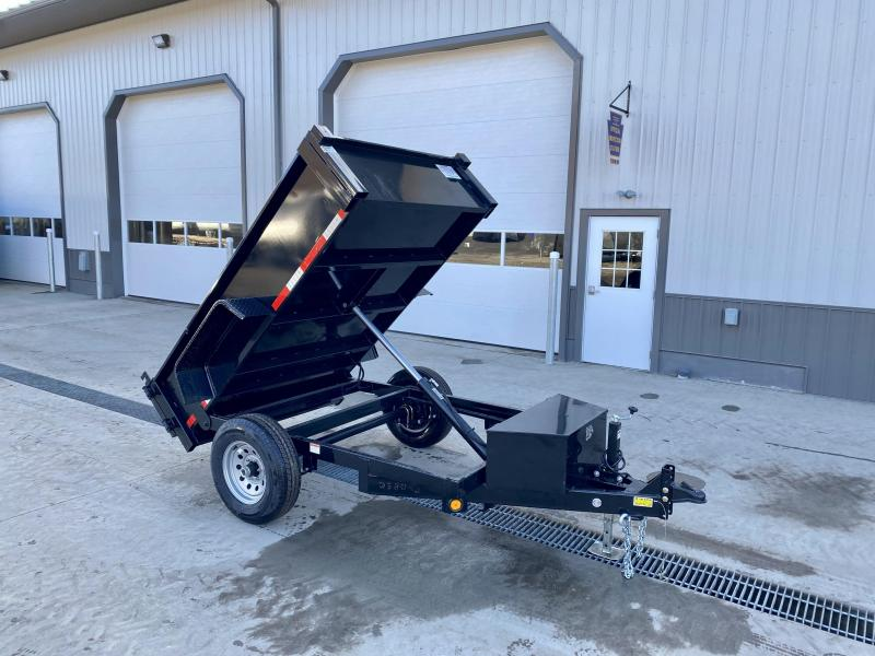 "2021 Quality Steel and Aluminum 5x8' Single Axle Dump Trailer 6000# GVW * ADJUSTABLE COUPLER * DROP LEG JACK * BARN DOORS * DIAMOND PLATE FENDERS * POWER UP/POWER DOWN * LED LIGHTS * 15"" RADIALS"