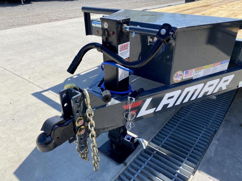 "2021 Lamar 7x22' Equipment Trailer 16000# GVW * 8000# AXLES * 17.5"" TIRES * TOOLBOX * 3 3/8"" BRAKES * FULL WIDTH RAMPS * CHARCOAL"