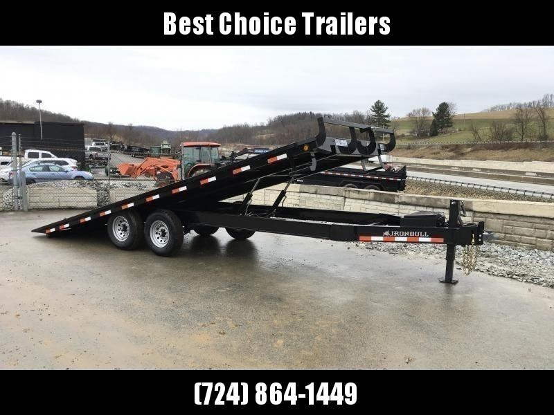 "2021 Ironbull 102x22' Deckover Power Tilt Trailer 14000# GVW * RATCHET TRACK W/ RATCHETS * SCISSOR HOIST UPGRADE * 12K JACK * WINCH PLATE * I-BEAM FRAME * RUBRAIL/STAKE POCKETS/PIPE SPOOLS/D-RINGS/BANJO EYES * 6"" TUBE BED FRAME * 4X4X1/4 WALL TUBE B"