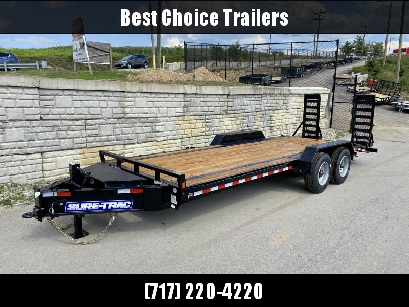 """2021 Sure-Trac 7x22' Equipment Trailer 20000# GVW * 10000# AXLE UPGRADE * 17.5"""" 16-PLY RUBBER * OIL BATH HUBS * HD COUPLER * 12K JACK * RUBRAIL/STAKE POCKETS/D-RINGS * SPARE MOUNT * HD 4"""" CHANNEL STAND UP RAMPS W/ SPRING ASSIST * TOOLBOX"""