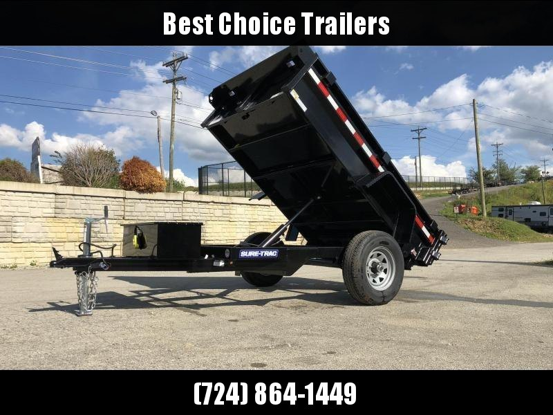 2021 Sure-Trac 5x8' Single Axle Dump Trailer 5000# GVW * BARN DOORS * INTEGRATED KEYWAY * SPARE TIRE MOUNT * TARP PREP * D-RINGS * DIAMOND PLATE FENDERS * POWER UP/POWER DOWN * TRIPLE TUBE TONGUE * BULLET LED'S * RADIALS * POWDERCOATED * SEALED HARNESS
