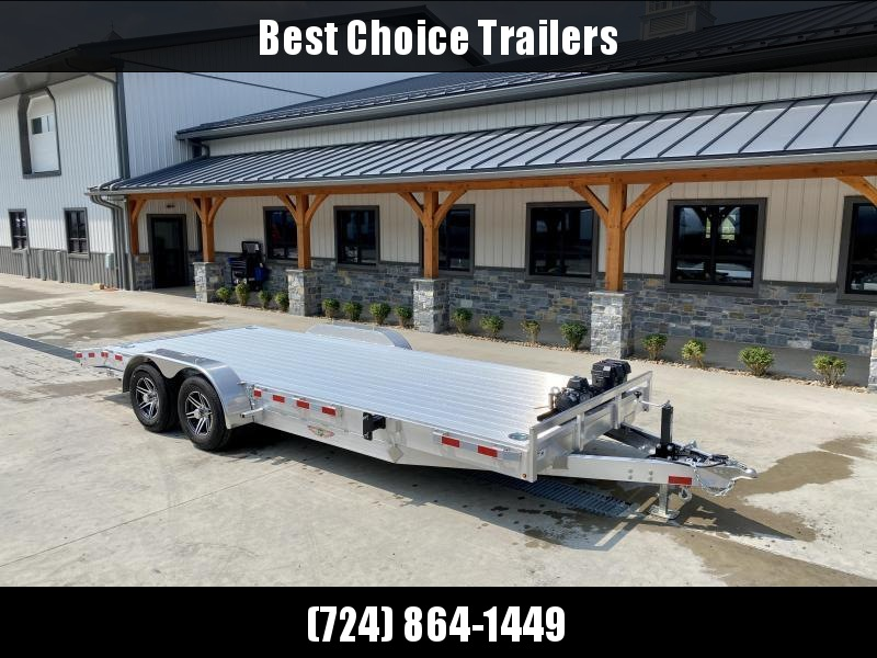 """2022 H and H 7x20' Deluxe Aluminum Car Hauler Trailer 9990# GVW * EXTRUDED ALUMINUM FLOOR * TORSION AXLES * SWIVEL D-RINGS * EXTRA STAKE POCKETS * HEAVY DUTY 8"""" FRAME * DROP LEG JACK * ALUMINUM WHEELS * REMOVABLE FENDERS * CHANNEL C/M"""