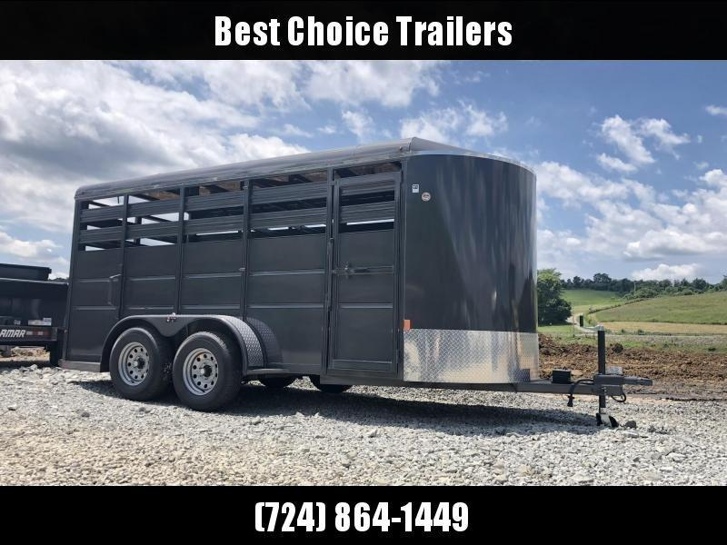2020 Delta 16' Livestock Trailer 7000# GVW * GREY * CENTER GATE * ESCAPE DOOR * DEXTER