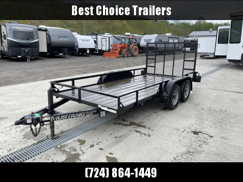 USED 2016 Mustang 7x14' Tandem Axle Utility Landscape Trailer 7000# GVW * TIE DOWNS * 7000# JACK * SPRING ASSISTED GATE * TUBE GATE