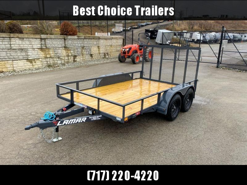 "2021 Lamar 7x12' Utility Landscape Trailer 7000# GVW * CHARCOAL * HD GATE/2X2"" TUBE C/M + SPRING ASSIST * CAST COUPLER * COLD WEATHER HARNESS * 4"" CHANNEL TONGUE * STAKE POCKETS * SWIVEL JACK * TUBE BUMPER * TEARDROP FENDERS * BULLET LED'S"