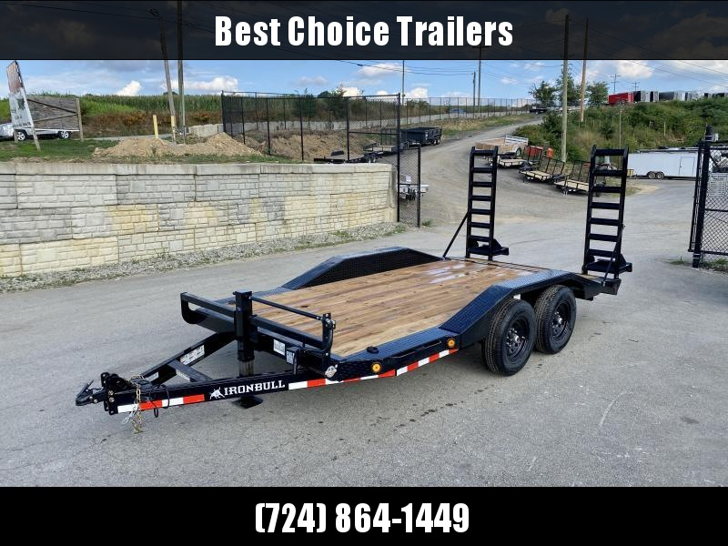 "2021 Iron Bull 102x16' Equipment Buggy Hauler Trailer 14000# GVW * 102"" DECK WITH DRIVE OVER FENDERS * STAND UP RAMPS * ADJUSTABLE COUPLER * DROP LEG JACK * RUBRAIL/STAKE POCKETS/D-RINGS"