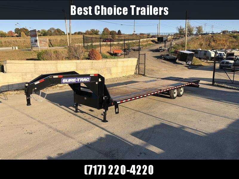 "2021 Sure-Trac 102x30' Gooseneck Beavertail Deckover Trailer 17600# GVW * 8000# AXLES * 17.5"" 16-PLY TIRES * 3 3/8"" BRAKES * DUAL JACKS * FULL TOOLBOX * FULL WIDTH RAMPS (STAND UP OR FLIPOVER) * 12"" I-BEAM * PIERCED FRAME * (10) 1"" D-RINGS * CROSS TRAC *"