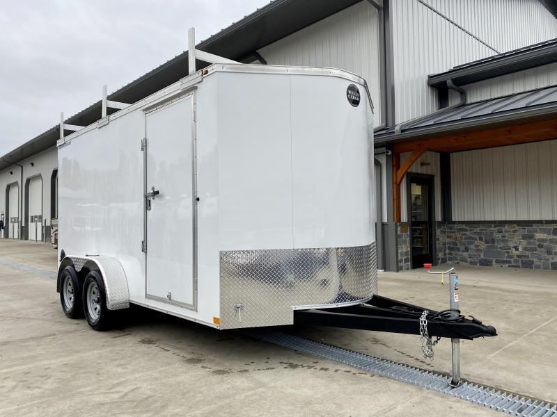 """2020 Wells Cargo 7x14' Road Force Enclosed Contractor Trailer 7000# GVW * WHITE ETERIOR * CONTRACTOR PACKAGE * 3 LADDER RACKS * 3/4"""" WALLS * SCREWLESS .030 EXTERIOR * 1 PC ALUM ROOF * 6'6"""" HEIGHT * TUBE STUDS * RV DOOR * ARMOR GUARD * EXTENDED TRIPLE TUBE"""