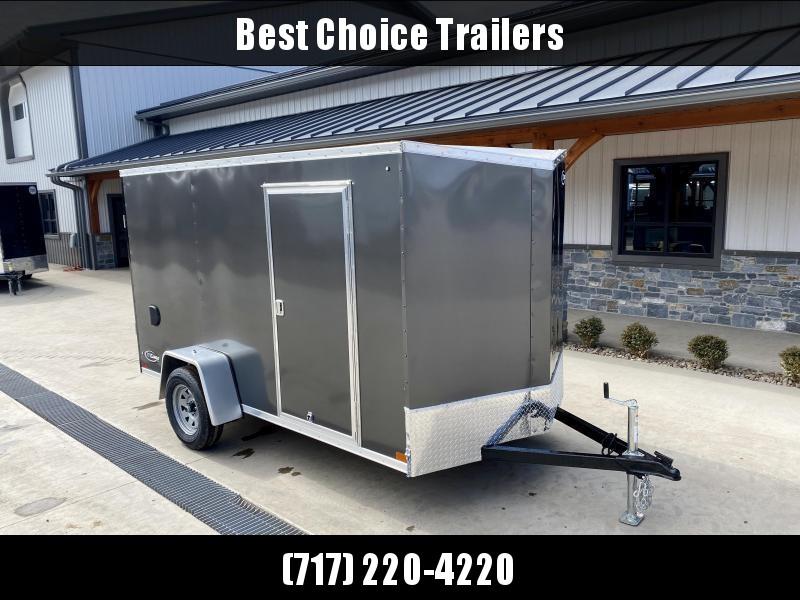 """2022 ITI Cargo 6x12' Enclosed Cargo Trailer 2990# GVW * SLANT V-NOSE * CHARCOAL EXTERIOR * .030 SEMI-SCREWLESS * 1 PC ROOF * 3/8"""" WALLS * 3/4"""" FLOOR * 16"""" STONEGUARD * HIGH GLOSS PAINTED FRAME"""