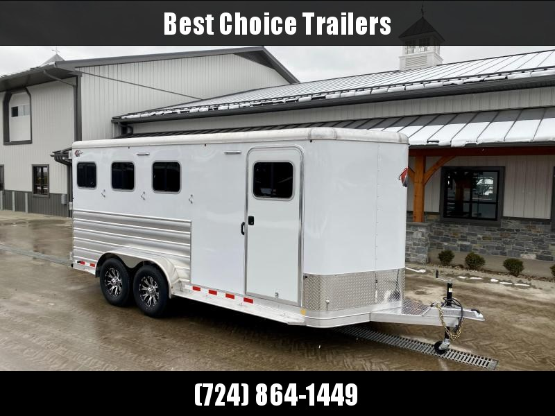 2021 Kiefer Built All Aluminum Genesis 3-Horse Slant Load Trailer 14000# GVW * SPARE TIRE * DRESSING ROOM * LOADING LIGHTS * DIVIDER