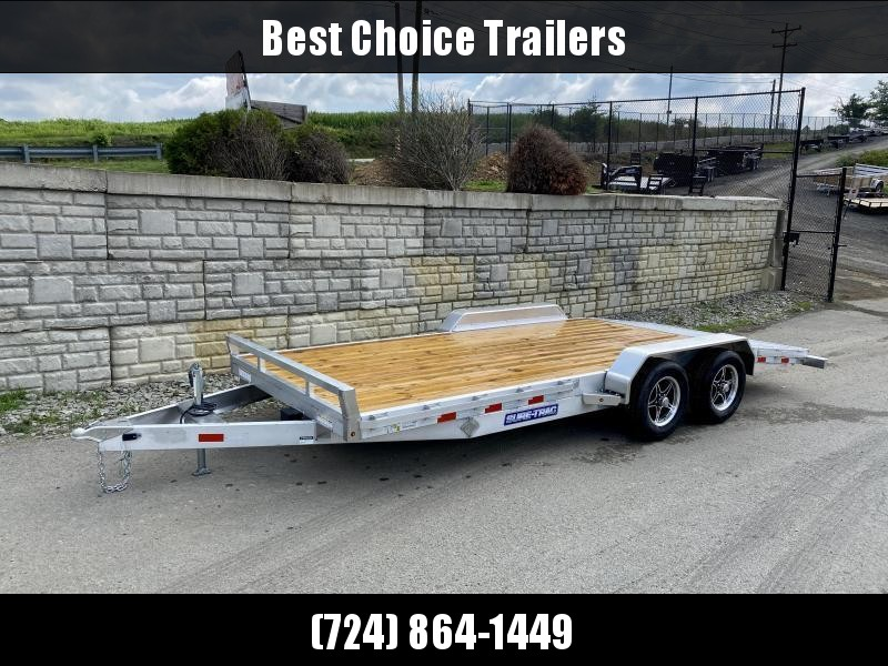 "2021 Sure-Trac 7x20' Aluminum Wood Deck Car Hauler 9900# GVW * 8"" CHANNEL FRAME * REMOVABLE FENDERS * SEALED WIRING HARNESS * STAKE POCKETS/RUBRAIL * 4' EXTRUDED DOVETAIL * ALUMINUM WHEELS * SPARE TIRE MOUNT"