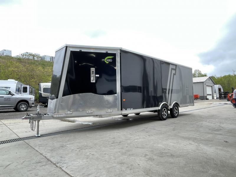 2021 NEO 8.5x20' NMS Aluminum Enclosed All Sport Car Hauler Trailer 7000# GVW * BLACK & SILVER 2-TONE W/ JD SLASH * FRONT RAMP * FINISHED WALLS * ALUMINUM WHEELS * ROUND TOP * 7' UTV HEIGHT