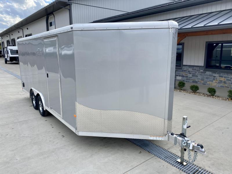 2019 NEO 8.5x18' Aluminum Enclosed Car Hauler Trailer 7000# * ROUND TOP * NXP RAMP * ALUMINUM WHEELS * SILVER
