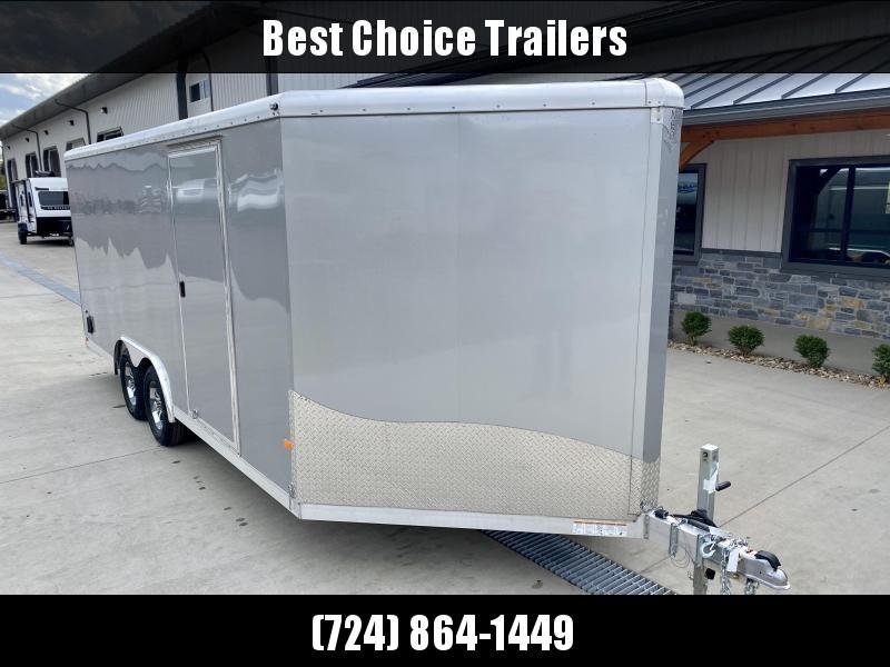 2019 NEO 8.5x18' Aluminum Enclosed Car Hauler Trailer 7000# * ROUND TOP * NXP RAMP * ALUMINUM WHEELS * SILVER