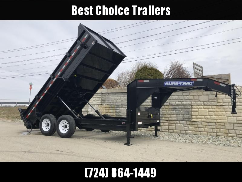 2021 Sure-Trac 7x14' Gooseneck Dump Trailer 14000# GVW * NEW I-BEAM NECK AND FULL FRONT TOOLBOX * DELUXE TARP KIT