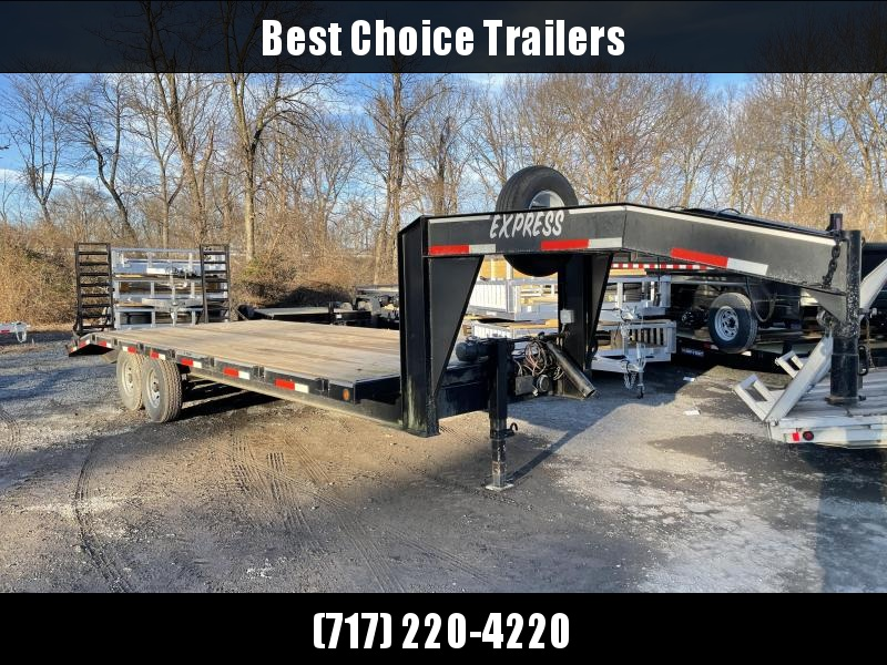 USED 2002 Express 102x24 Gooseneck Flatbed Trailer * WINCH * I-BEAM