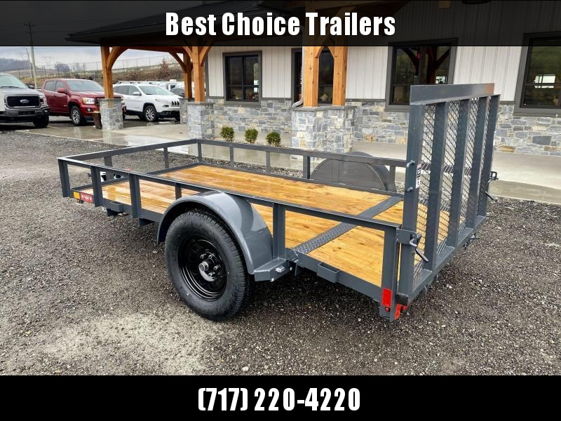 """2021 Lamar 5x10' Utility Landscape Trailer 2990# GVW * CHARCOAL * CAST COUPLER * SEALED COLD WEATHER HARNESS * 4"""" CHANNEL FULL WRAP TONGUE * STAKE POCKET TIE DOWNS * 2X2"""" 3' TUBE GATE * SPRING ASSIST GATE * SWVIEL JACK * 2' DOVETAIL"""