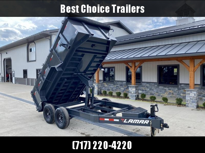 "2021 Lamar 7x14' High Side Dump Trailer 14000# GVW * 3' HIGH SIDES * 7GA FLOOR * TARP KIT * UNDERMOUNT RAMPS * SCISSOR HOIST * 12K JACK * CHARCOAL * RIGID RAILS * HD COUPLER * NESTLED I-BEAM FRAME * 3-WAY GATE * 12"" O.C. C/M * SPARE MOUNT"