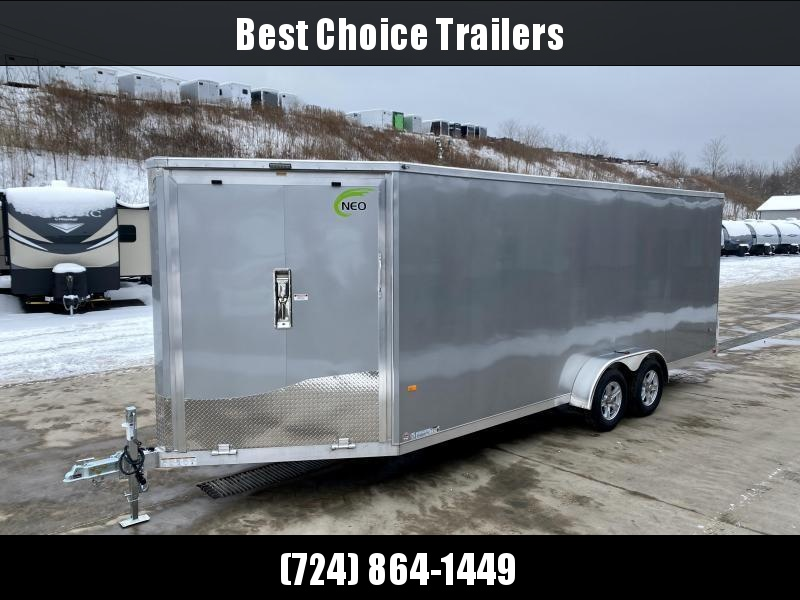 "2021 Neo 7x28' NASF Aluminum Enclosed All-Sport Trailer 7000# GVW * 7' HEIGHT UTV PKG * SILVER EXTERIOR * FRONT/REAR NXP RAMP * VINYL WALLS * SPORT TIE DOWN SYSTEM * 16"" O.C. FLOOR * PRO STAB JACKS * UPPER CABINET * ALUMINUM WHEELS * SCREWLESS * 1 PC ROOF"