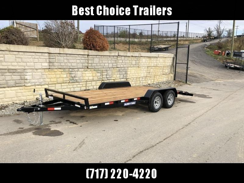 2021 Sure-Trac 7x16 Wood Deck Car Hauler 7000# GVW * REAR SLIDE OUT PUNCH PLATE FINGERJOINTED RAMPS * DIAMOND PLATE FENDERS * SEALED WIRING HARNESS * SET BACK JACK * STAKE POCKETS/D-RINGS * DIAMOND PLATE DOVETAIL