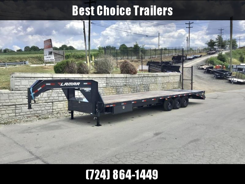 "2021 Lamar 102x30' Gooseneck Beavertail Deckover Trailer 21000# GVW * FULL WIDTH (STAND UP OR FLIPOVER) RAMPS * 12"" I-BEAM FRAME * FRONT TOOLBOX * DUAL JACKS * CHARCOAL * 16"" O.C. C/M * RUBRAIL/STAKE POCKETS/PIPE SPOOLS * 4X8"" TUBE BUMPE"