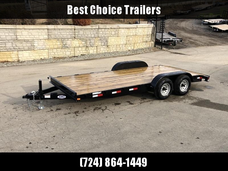 "2020 AMO 7x18' Car Hauler Trailer 9990# GVW * ALL LED LIGHTS * SLIDE IN RAMPS * BEAVERTAIL * STACKED 5"" CHANNEL TONGUE/FRAME * DROP LEG JACK * REMOVABLE FENDERS"