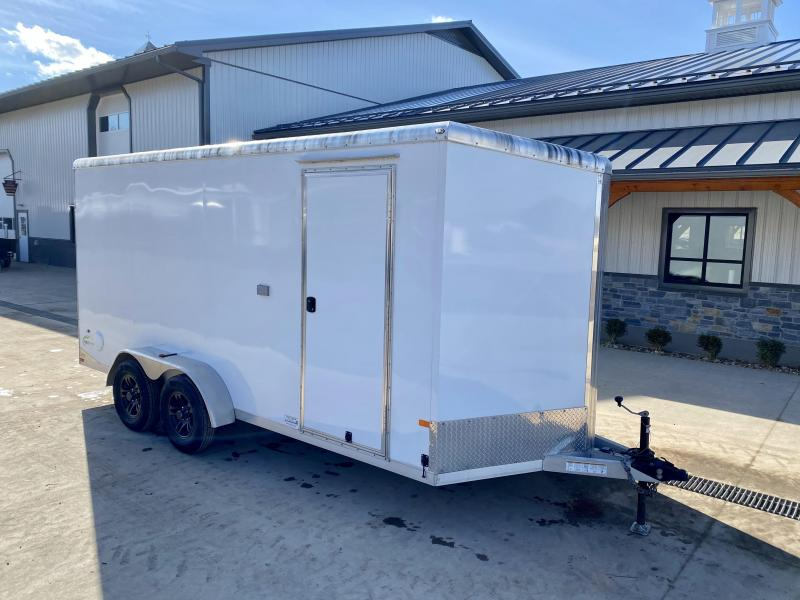 """USED 2015 Neo 7x16' NAMR Aluminum Enclosed Motorcycle Trailer 7000# GVW * ALUMINUM WHEELS * +6"""" HEIGHT * WHITE * E-TRACK * CABINETS * SPARE TIRE"""