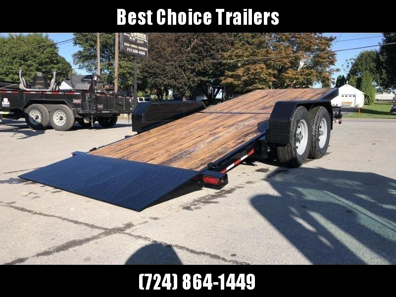 2021 Sure-Trac 7x18' Gravity Tilt Equipment Trailer 14000# GVW * 12K JACK * OAK DECK UPGRADE IMPROVES TRACTION & DURABILITY * DROP AXLES/LOW LOAD ANGLE * RUBRAIL/STAKE POCKETS/D-RINGS * HD FENDERS * ADJUSTABLE CAST COUPLER * SPARE MOUNT