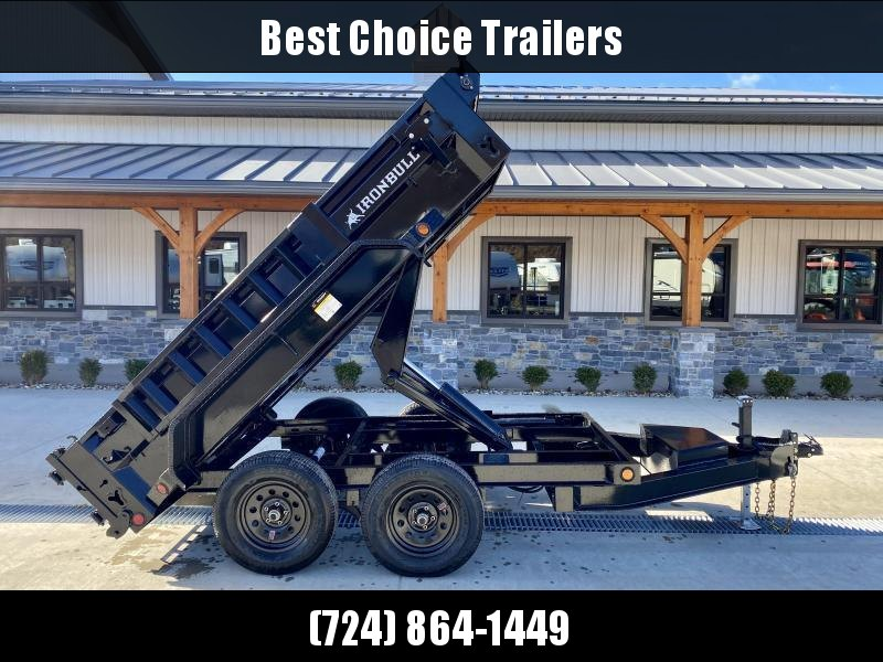 2021 IronBull 5x10' Dump Trailer 7000# GVW * SCISSOR HOIST * TARP KIT * RAMPS * I-BEAM FRAME * INTEGRATED KEYWAY * 10 GA SIDES AND FLOOR * COMBO GATE * ADJUSTABLE COUPLER * DROP LEG JACK * 110V CHARGER