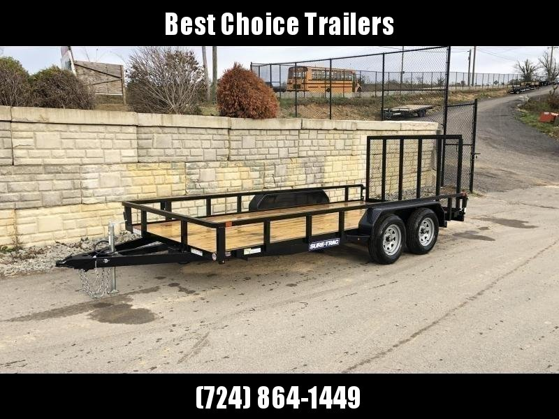 """2021 Sure-Trac 7x16' Tube Top Utility Landscape Trailer 7000# GVW * 2"""" TUBE TOP RAIL * 2X2"""" TUBE GATE C/M + SPRING ASSIST + FOLD FLAT * TOOLESS GATE REMOVAL * SPARE MOUNT * PROTECTED WIRING * SET BACK JACK * TRIPLE TUBE TONGUE * STAKE POCKETS * BULLET LED"""