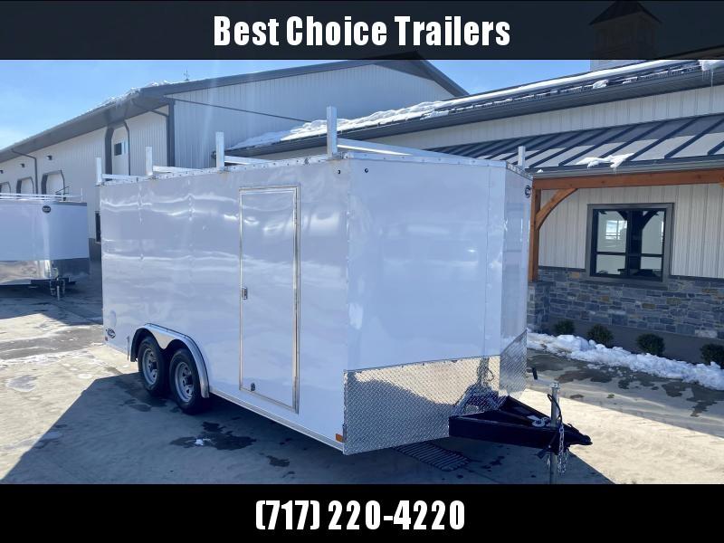 "2021 ITI Cargo 8.5x16 Enclosed Cargo Trailer 7000# GVW * BARN DOORS * WHITE EXTERIOR * 3 LADDER RACKS * .030 SEMI-SCREWLESS * RV DOOR * 1 PC ROOF * 3/8"" WALLS * 3/4"" FLOOR * PLYWOOD * TRIPLE TUBE TONGUE * 6'6"" INTERIOR * 24"" STONEGUARD * HIGH GLOSS PAINTE"