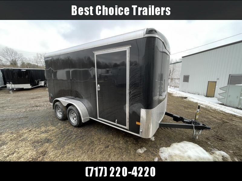 "2021 Wells Cargo 7x14' Road Force Enclosed Cargo Trailer 7000# GVW * BLACK EXTERIOR * RAMP DOOR * ROUND TOP * SCREWLESS .030 EXTERIOR * 6'6"" HEIGHT * TUBE STUDS * 1 PC ROOF * 16"" O.C. WALLS/FLOOR * RV DOOR * ARMOR GUARD * BULLET LED'S"