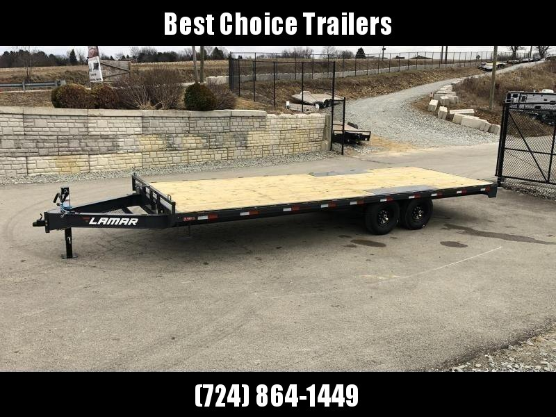 "2021 Lamar 102x24' Flatbed Deckover Trailer 14000# GVW * 8' SLIDE IN RAMPS * CHARCOAL * TOOL TRAY * HD CAST COUPLER * I-BEAM FRAME * 16"" O.C. C/M * RUBRAIL/STAKE POCKETS/PIPE SPOOLS * CHANNEL SIDE RAIL * 12K JACK"