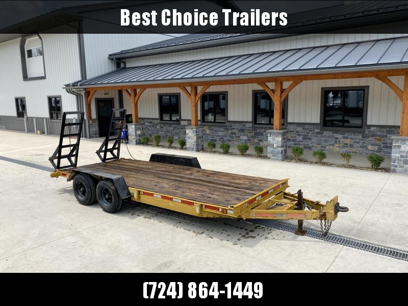 USED Packmule 7x16' Equipment Trailer 10000# GVW * STAND UP RAMPS * HD ADJUSTABLE COUPLER * DROP LEG JACK * CHAIN TRAY * D-RINGS/STAKE POCKETS