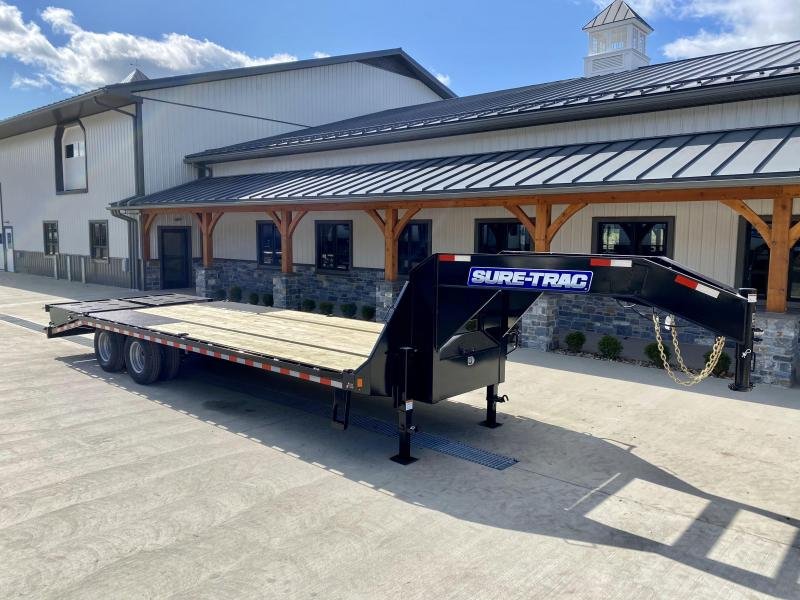 "2021 Sure-Trac 102x25' Gooseneck Beavertail Deckover Trailer 22500# GVW * FULL WIDTH RAMPS (STAND UP OR FLIPOVER) * DEXTER AXLES * 12"" I-BEAM * PIERCED FRAME * RUBRAIL/STAKE POCKETS/PIPE SPOOLS/10 D-RINGS * CROSS TRAC BRACING * HD BEAVERTAIL"