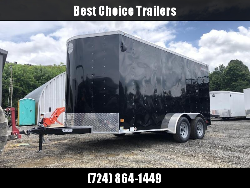 """2021 Wells Cargo 7x14' Fastrac DELUXE Enclosed Cargo Trailer 7000# GVW * BLACK EXTERIOR * RAMP DOOR * V-NOSE * .030 EXTERIOR * 6'6"""" HEIGHT * TUBE STUDS * 3/8"""" WALLS * 1 PC ROOF * 16"""" O.C. WALLS * BULLET LED'S"""
