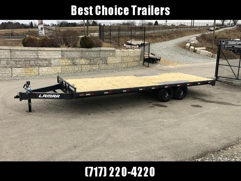 """2021 Lamar 102x24' Flatbed Deckover Trailer 14000# GVW * 8' SLIDE IN RAMPS * CHARCOAL * TOOL TRAY * HD CAST COUPLER * I-BEAM FRAME * 16"""" O.C. C/M * RUBRAIL/STAKE POCKETS/PIPE SPOOLS * CHANNEL SIDE RAIL * 12K JACK"""