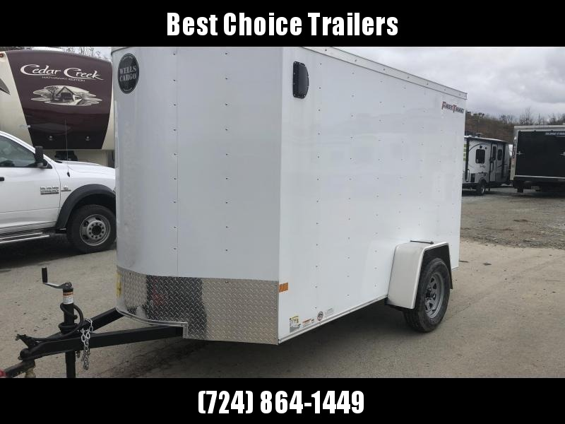 "2021 Wells Cargo 6x12' Fastrac Deluxe Enclosed Cargo Trailer 2990# GVW * WHITE EXTERIOR * RAMP DOOR * V-NOSE * 1 PC ROOF * 16"" O.C. WALLS * BULLET LED'S"