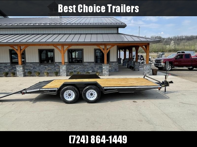 "2021 Corn Pro 7x20' Wood Deck Car Hauler 9900# GVW * REAR SLIDE OUT RAMPS * DIAMOND PLATE FENDERS * RUNNING BOARDS * RUBRAIL/STAKE POCKETS/CHAIN SPOOLS * DEMCO EZ LATCH COUPLER * CHAIN TRAY * DIAMOND PLATE DOVETAIL * URETHANE PAINT * 16"" O.C. C/M"