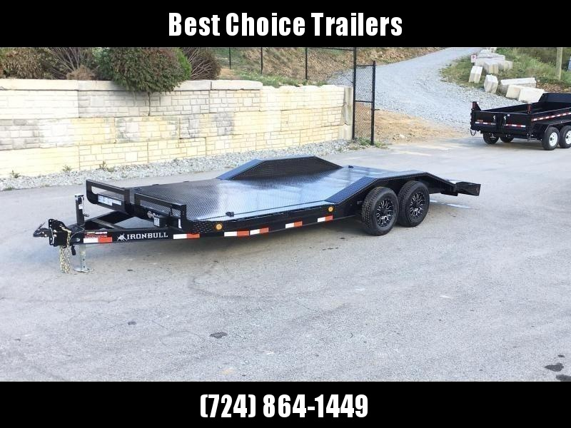 "2021 Ironbull 102""x20' Steel Deck Buggy Hauler Car Trailer 9990# GVW * STEEL DECK * 102"" DECK * DRIVE OVER FENDERS * 16"" O.C. CHANNEL C/M * 6"" TONGUE/FRAME * RUBRAIL/STAKE POCKETS/PIPE SPOOLS/D-RINGS * ADJUSTABLE COUPLER * DROP LEG JACK"