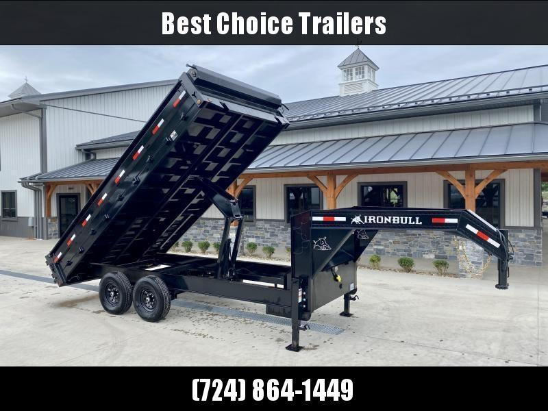 2022 Ironbull 8x16' Gooseneck Deckover Dump Trailer 14000# GVW * TARP KIT * I-BEAM FRAME * BED RUNNERS * FULL FRONT TOOLBOX * DUAL JACKS * FOLD DOWN SIDES * OVERSIZE 5x20 SCISSOR * INTGRATED KEYWAY/10GA WALLS * CLEARANCE