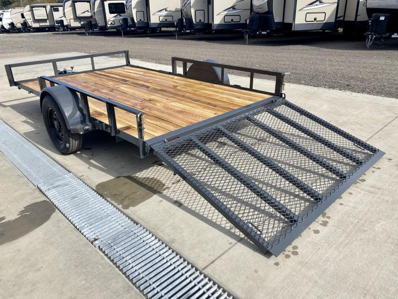 """USED 2021 Lamar 7x12' ATV Utility Landscape Trailer 2990# GVW * ATV RAMPS * CHARCOAL * CAST COUPLER * SEALED COLD WEATHER HARNESS * 4"""" CHANNEL FULL WRAP TONGUE * STAKE POCKET TIE DOWNS * 2X2"""" TUBE GATE C/M * SPRING ASSIST GATE * SWVIEL JACK"""