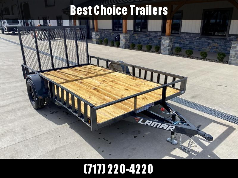 "USED 2021 Lamar 7x12' ATV Utility Landscape Trailer 2990# GVW * ATV RAMPS * CHARCOAL * CAST COUPLER * SEALED COLD WEATHER HARNESS * 4"" CHANNEL FULL WRAP TONGUE * STAKE POCKET TIE DOWNS * 2X2"" TUBE GATE C/M * SPRING ASSIST GATE * SWVIEL JACK"