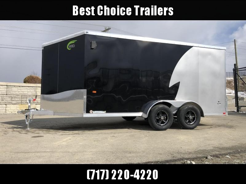 "2020 Neo 7x16' NAMR Aluminum Enclosed Motorcycle Trailer * VINYL WALLS * ALUMINUM WHEELS * +6"" HEIGHT * BLACK+SILVER * SPORT TIE DOWN SYSTEM"