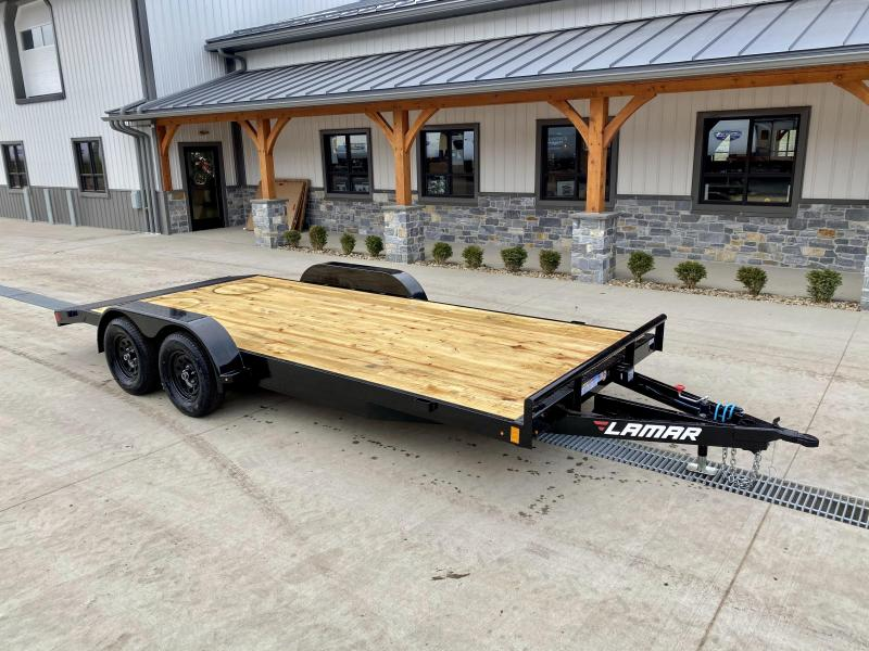 "2021 Lamar 7x18 7000# Wood Deck Car Hauler Trailer * REMOVABLE FENDERS * EXTRA STAKE POCKETS * 5"" CHANNEL FRAME * COLD WEATHER HARNESS * REAR RAMPS"