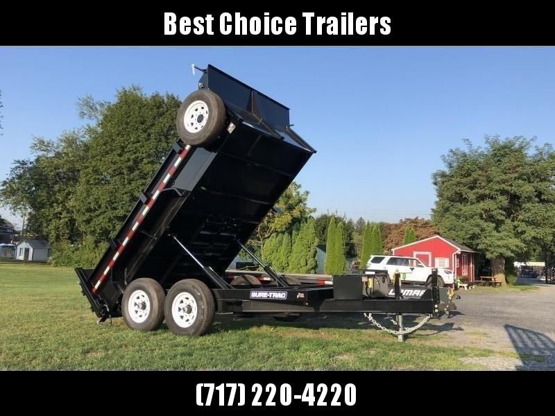 2021 Sure-Trac 7x12' Dump Trailer 12000# GVW * TARP KIT * DUAL PISTON * FRONT/REAR BULKHEAD * INTEGRATED KEYWAY * 2' SIDES * UNDERBODY TOOL TRAY * ADJUSTABLE COUPLER * 110V CHARGER * UNDERMOUNT RAMPS * COMBO GATE * 7K DROP LEG JACK